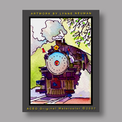 Signed ACEO Print *Steam Train #1315* by Lynne Neuman
