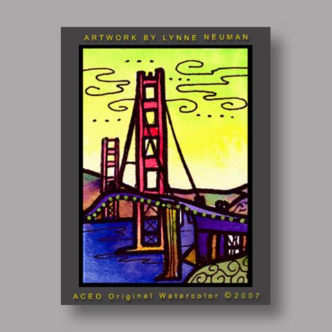 Signed ACEO *Golden Gate Bridge #1326* by Lynne Neuman