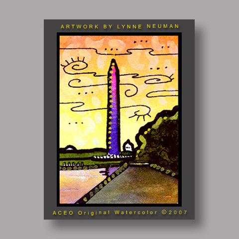 Signed ACEO Print *Washington Monument #1342* by Lynne Neuman