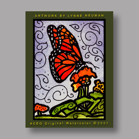 Signed ACEO Print *Monarch Butterfly #1441* by Lynne Neuman