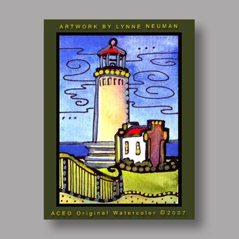 Signed ACEO Print *Lighthouse #1491* by Lynne Neuman