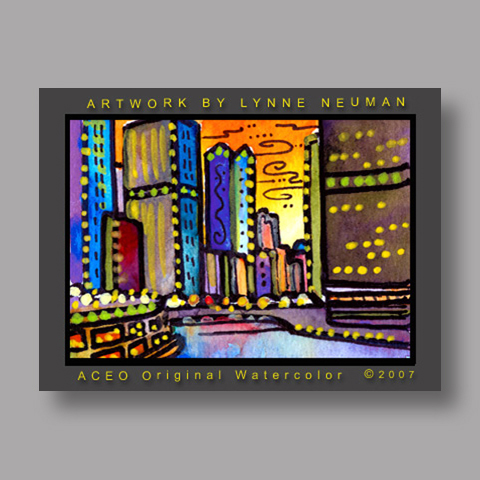 Signed ACEO *Chicago River #1520* by Lynne Neuman
