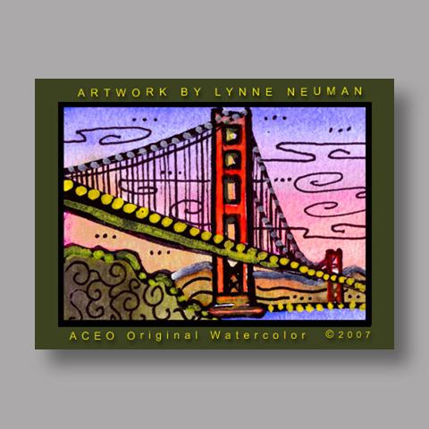Signed ACEO *San Francisco Bridge #1524* by Lynne Neuman