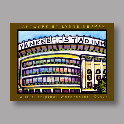 Signed ACEO *Yankee Stadium New York #1528* by Lynne Neuman