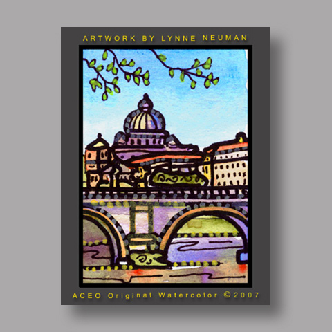 Signed ACEO Print *Rome Italy1549* by Lynne Neuman