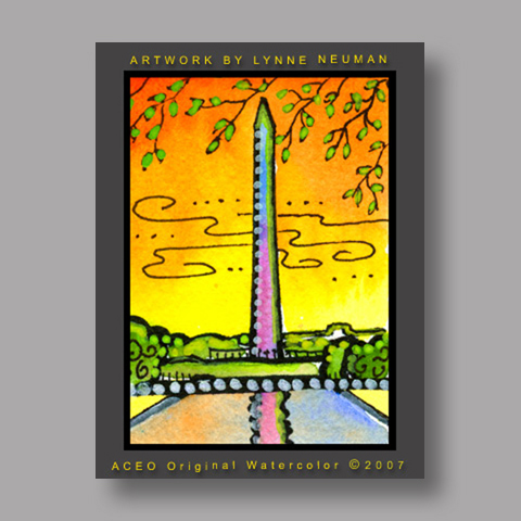 Signed ACEO *Washington Monument #1688* by Lynne Neuman