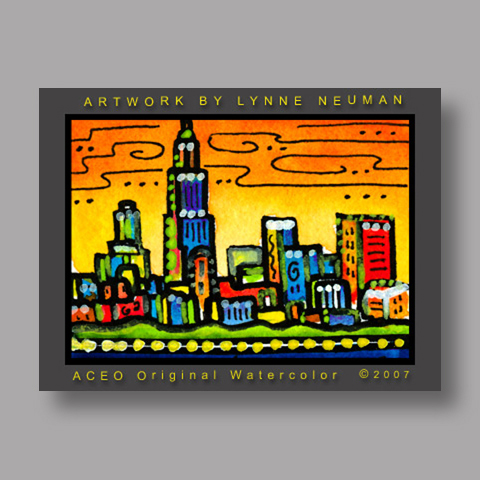 Signed ACEO *Chicago Illinois Skyline #1690* by Lynne Neuman