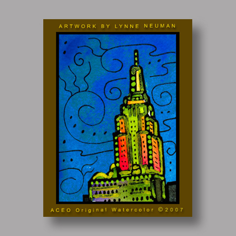 Signed ACEO Print *Empire State New York #1715* by Lynne Neuman
