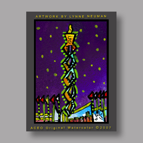 Signed ACEO Print *Salt Lake Olympic Torch #1730* by Lynne Neuman