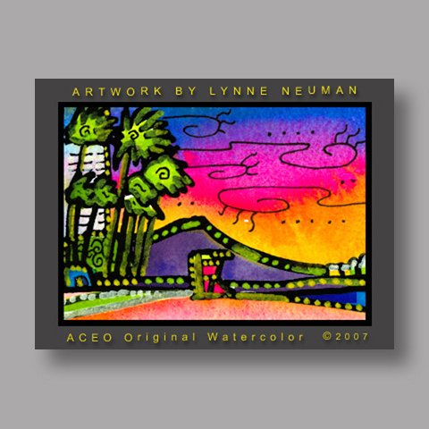 Signed ACEO Print *Hawaiian Beach Sunset #1816* by Lynne Neuman