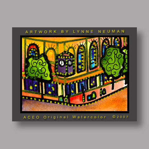 Signed ACEO *Hyde Park Chicago Bank #1822* by Lynne Neuman