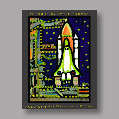 Signed ACEO *Space Shuttle Launch #1844* by Lynne Neuman
