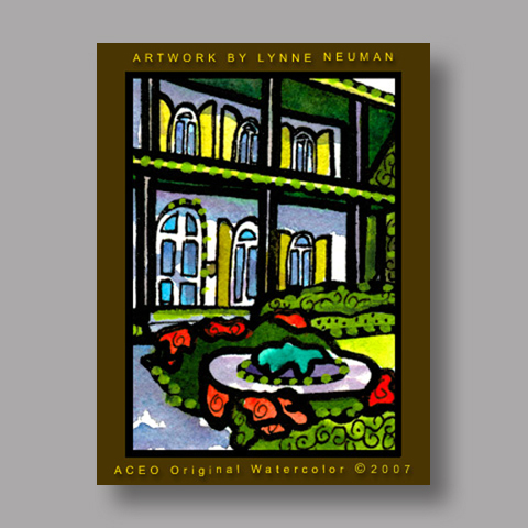 Signed ACEO *Hemingway Home Key West #1924* by Lynne Neuman