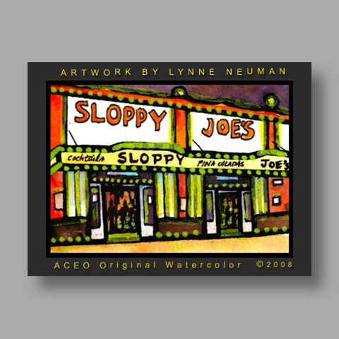 Signed ACEO Print *Sloppy Joes Bar Key West Florida #1976* by Lynne Neuman