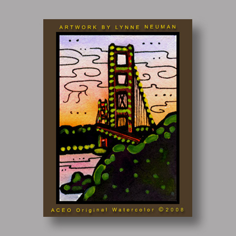Signed ACEO *Golden Gate Bridge San Francisco California #1986* by Lynne Neuman