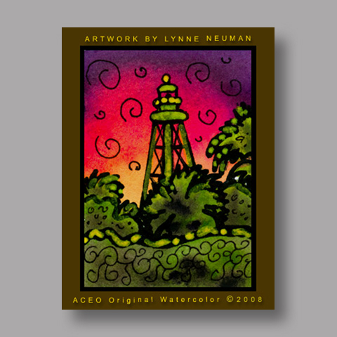 Signed ACEO *Sanibel Lighthouse Florida #1987* by Lynne Neuman