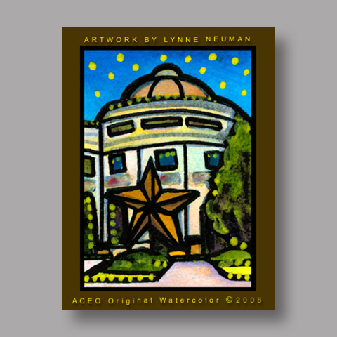 Signed ACEO Print *Texas History Museum Austin #1993* by Lynne Neuman
