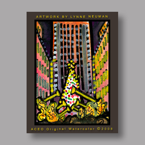 Signed ACEO Print *Rockefeller Center Christmas Tree New York City #2014* by Lynne Neuman