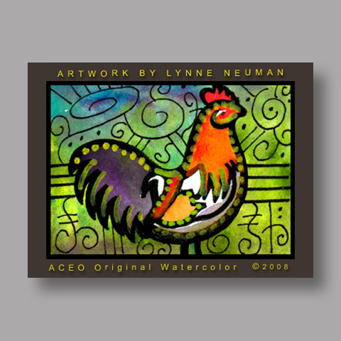 Signed ACEO *Whimsical Rooster #2044* by Lynne Neuman