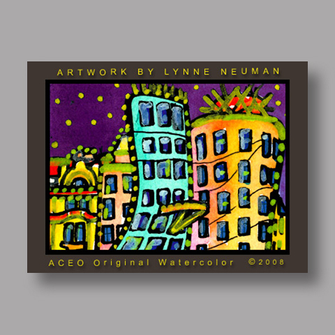 Signed ACEO Print *Gehry Dancing House Prague #2052* by Lynne Neuman