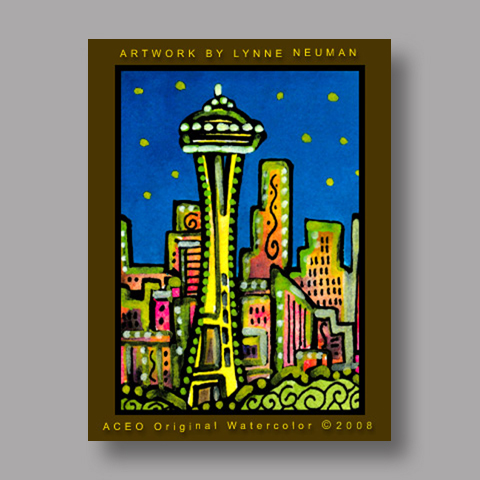 Signed ACEO *Seattle Skyline #2081* by Lynne Neuman