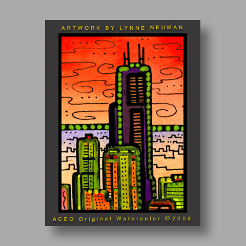 Signed ACEO Print *Sears Tower Chicago #2097* by Lynne Neuman
