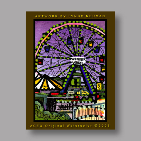 Signed ACEO *Coney Island New York #2128* by Lynne Neuman