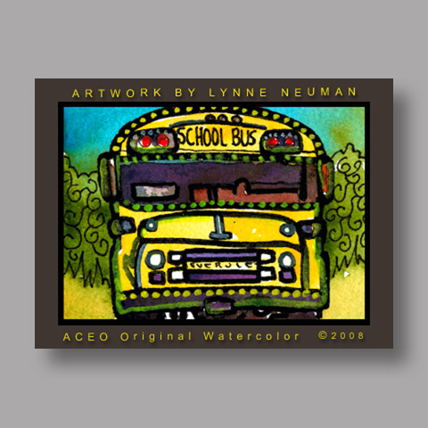 Signed ACEO Print *Yellow School Bus #2385* by Lynne Neuman