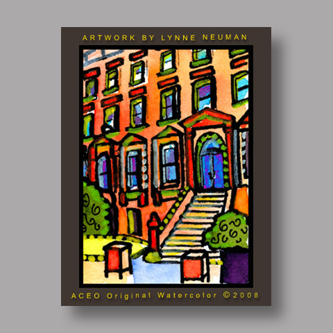 Signed ACEO Print *Brownstone New York City #2394* by Lynne Neuman