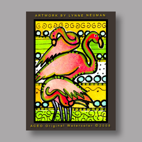 Signed ACEO *Pink Flamingos Miami #2509* by Lynne Neuman