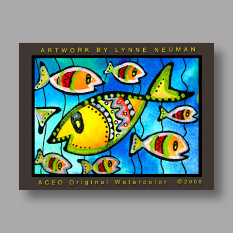 Signed ACEO *Fish #2558* by Lynne Neuman