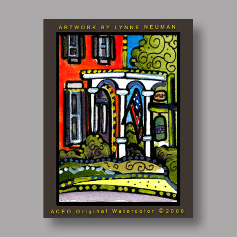 Signed ACEO *Chagrin Falls Red Brick Victorian Historical #2574* by Lynne Neuman