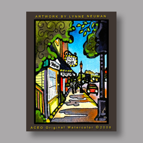Signed ACEO *Chagrin Falls Ricks Cafe Main Street #2575* by Lynne Neuman
