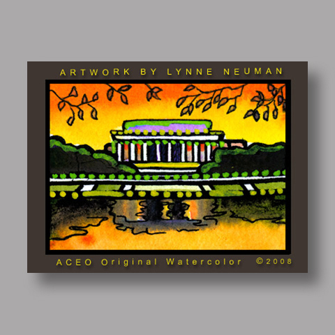 Signed ACEO Print *Lincoln Memorial #2581* by Lynne Neuman