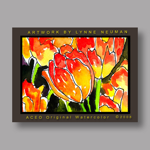 Signed ACEO Print *Tulips Flowers #2618* by Lynne Neuman