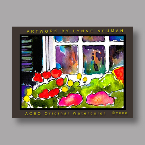 Signed ACEO Print *Window Flowers #2620* by Lynne Neuman