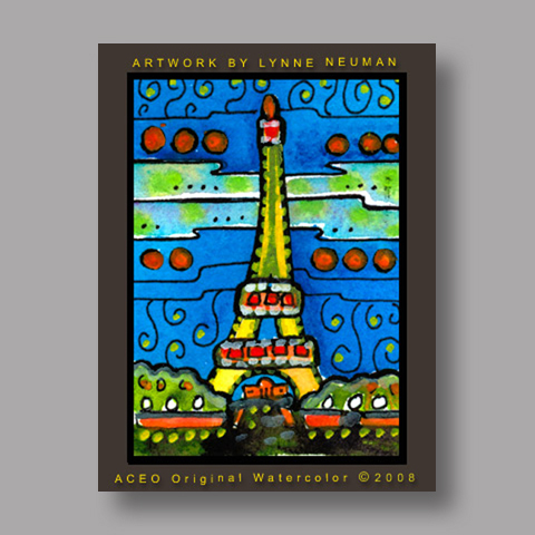 Signed ACEO *Eiffel Tower #2634* by Lynne Neuman