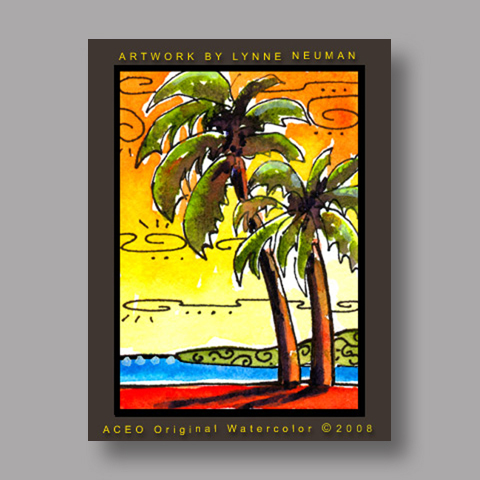 Signed ACEO *Palm Trees Sunset #2635* by Lynne Neuman
