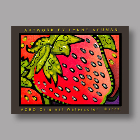 Signed ACEO Print *Strawberries #2670* by Lynne Neuman