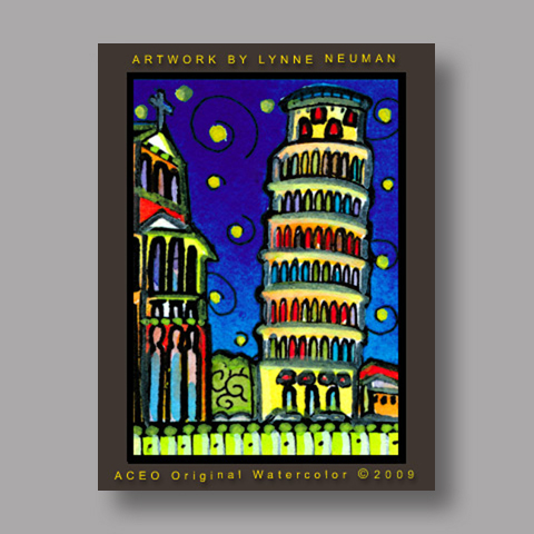 Signed ACEO *Leaning Tower Pisa #2675* by Lynne Neuman