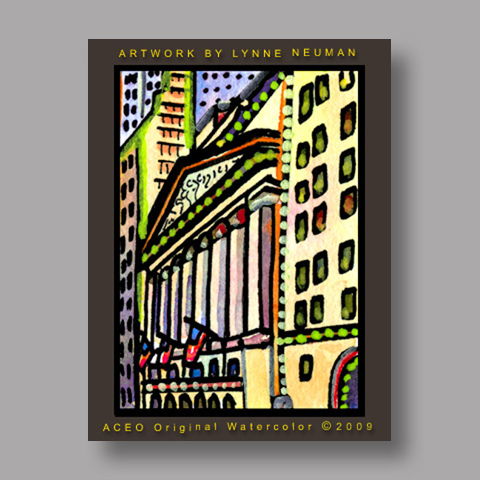 Signed ACEO *New York Stock Exchange #2677* by Lynne Neuman