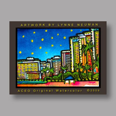 Signed ACEO Print *Honolulu Hawaii #2724* by Lynne Neuman