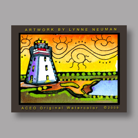 Signed ACEO Print *Lighthouse #2741* by Lynne Neuman