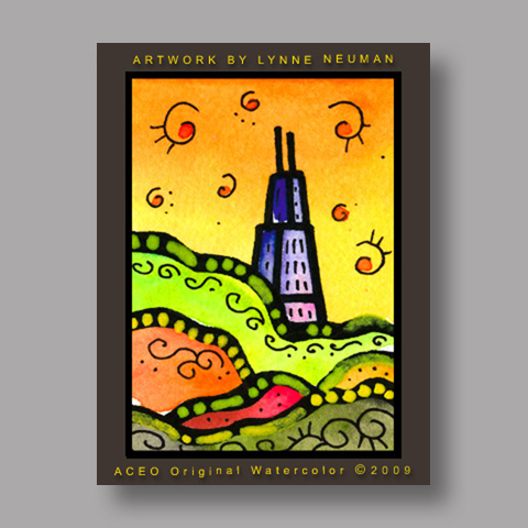 Signed ACEO *Sears Tower Chicago Illinois #2951* by Lynne Neuman