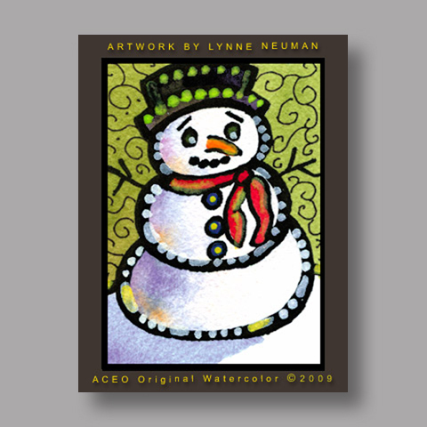 Signed ACEO *Snowman #2977* by Lynne Neuman