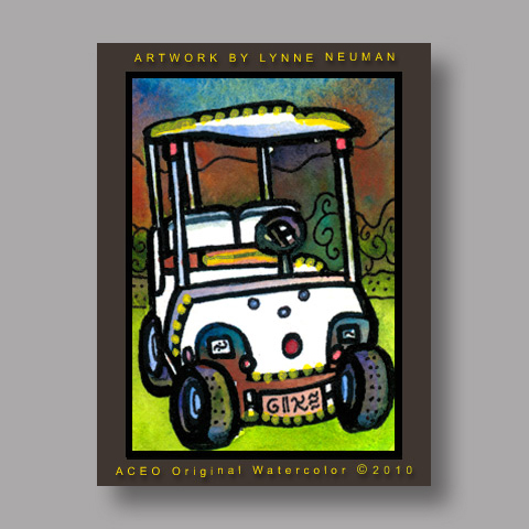 Signed ACEO Print *Electric Golf Cart Golfing Theme #3035* by Lynne Neuman