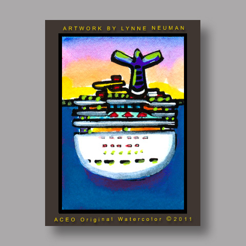 Signed ACEO Print *Carnival Cruise Ship #3149* by Lynne Neuman