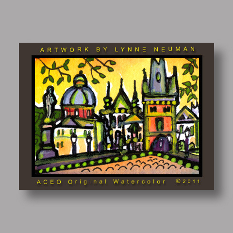 Signed ACEO *Charles Bridge Prague #3151* by Lynne Neuman