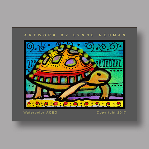 Signed ACEO *Whimsical Turtle #4202* by Lynne Neuman
