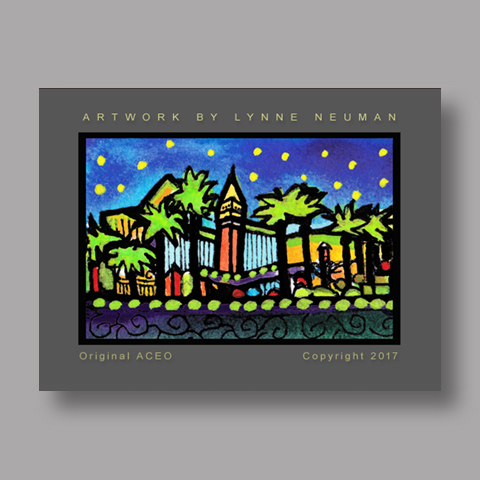 Signed ACEO *Las Vegas Nevada #4210* by Lynne Neuman